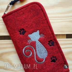 handmade etui filcowe na telefon - kotek