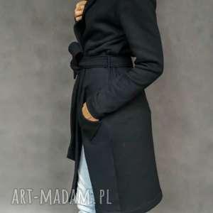 black hood płaszcz - dresowy, kaptur, kieszenie, czarny, wiązany