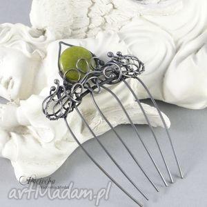 handmade ozdoby do włosów green romance - grzebień do włosów