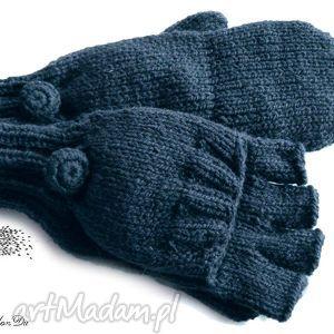 bezpalczatki z klapką #10, rękawiczki, mitenki, dziergane, jednopalczaste, granatowe