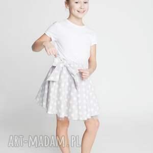 Spódnica DS10M, spódnica, rozkloszowana, kokarda, groszki, modna, stylowa