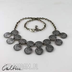grosiki - naszyjnik - naszyjnik, kolia, recykling, monety, grosze, metal