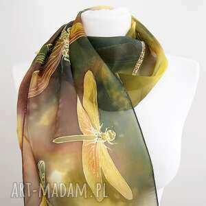 szal jedwabny ważki, ręcznie malowany - unisex, z jedwabiu malowane
