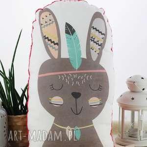 ręcznie wykonane pokoik dziecka poduszka przytulanka, indiański króliczek, bawełna, czerwone