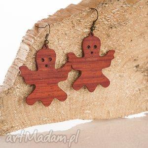 kolczyki duszki - mosiądz i drewno egzotyczne, kolczyki, drewno, mosiądz