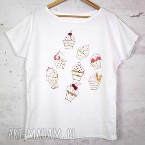 koszulki muffinki koszulka bawełniana biała z nadrukiem s/m, koszulka, bluzka