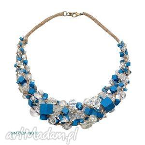 niebieskie kostki - kostki, crackle, przezroczyste, drewno, akryl, lniany