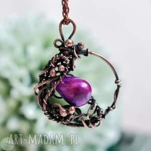 naszyjniki w fiolecie - naszyjnik z perłą rzeczną, perłą, wisior
