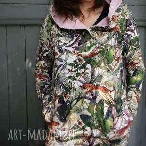 oversize bluza hoodie ogromny kaptur gepardy xs, z wzorem