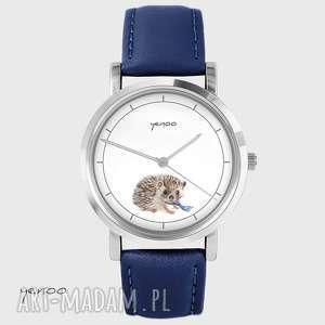 yenoo zegarek - jeżyk skórzany, granatowy, zegarek, bransoletka, jeż