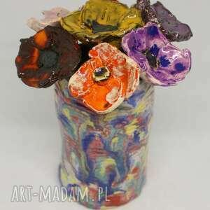 Piękny wyjątkowy komplet kwiaty ceramiczne 7szt i wazon handmade