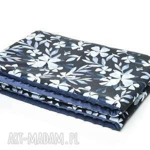 kocyk kołderka 75x100 minky bawełna blue flowers, wyprawka