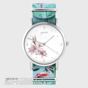 zegarek - lilia flamingi, nato, zegarek, bransoletka, flaming