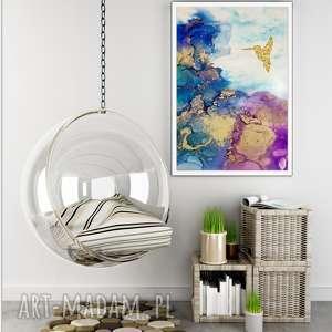 koliber we mgle - obraz ręcznie malowany na płótnie