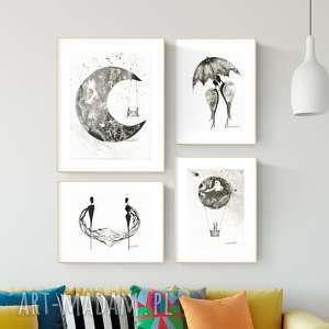 zestaw 4 oryginalnych grafiki czarno-białych, abstrakcja, elegancki minimalizm