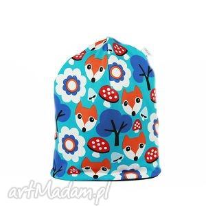 ciepła czapka lisek much niebieska - ciepła, czapka, lisek, muchomor