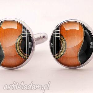 Gitara - Spinki do mankietów, spinki, gitara, akustyczna, muzyczne, muzyka