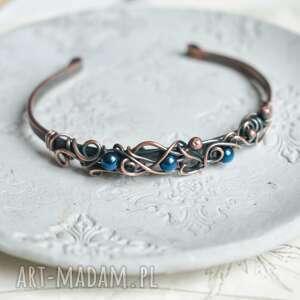 blue - bransoletka miedziana z hematytem niebieskim, boho