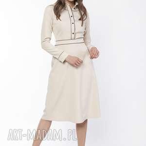 sukienki sukienka elegancka z kołnierzykiem, suk167 beż