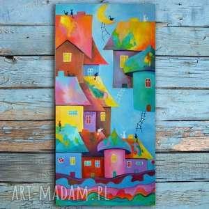 obraz na płótnie - bajkowe miasteczko kotów 100/50 cm, abstrakcja, niebieski