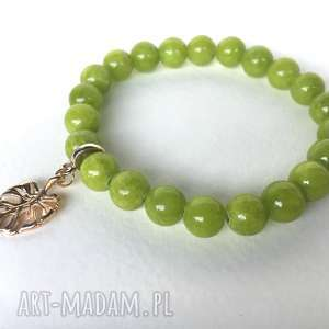 Prezent Zielone jadeity z monsterą, jadeity, kamienie, monstera, bransoletka, prezent