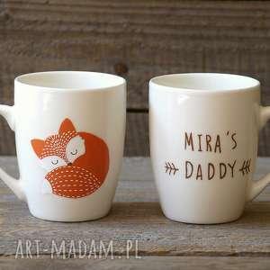 hand made ceramika kubek lis z imieniem - ręcznie malowany