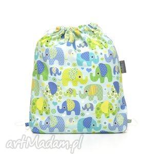 plecak worek przedszkolaka słoniki na turkusie - mufka