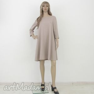 sukienki 7 - sukienka beżowa, sukienka, rozkloszowana, trapez, elegancka, mini