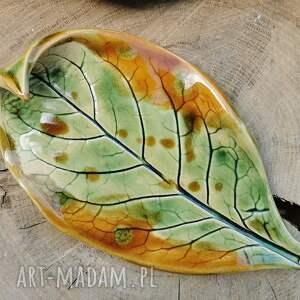 ceramiczny talerzyk liść c283, liść, podstawka, ceramiczny