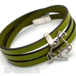 bransoletka skóra MAGNETOOS triple HORSE olive, bransoletka, rzemień,