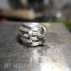 angry cat zestaw łączonych obrączek, zestaw, surowy, srebro, minimalistyczny