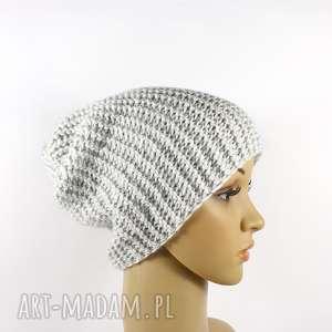 czapka jasnoszara unisex krasnal robiona na drutach, unisex, ręcznie