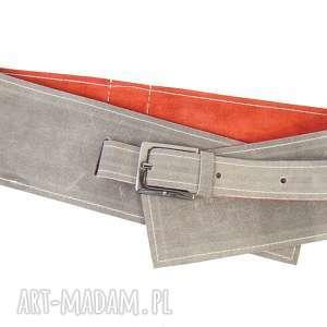 ręcznie wykonane paski skórzany pasek gorsetowy dwustronny - szary z czerwonym