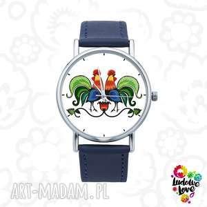 zegarek z grafiką koguty, folk, etniczne, ludowe, kogut, prezent, wycinanka