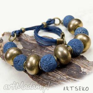 koral blue naszyjnik - naszyjnik, koral, niebieski, mosziędz, staregozłota