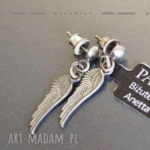 SREBRO, kolczyki srebrne aniołki, srebro, kolczyki, slrzydełka, zawieszki