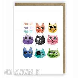 kartka urodzinowa, okolicznościowa, na urodziny, koty, kartka