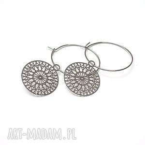 Alloys Collection /silver rosette/ - kolczyki, stal, szlachetna, ażur, rozety,