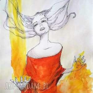 akwarela szamanka artystki plastyka adriany laube, akwarela, kobieta, szamanka, magia