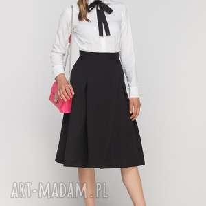 Spódnica z zakładką, SP116 czarny, casual, elegancka, rozkloszowana, kieszenie, długa