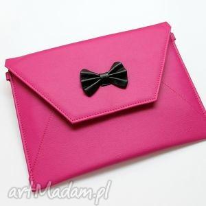 kopertówka z kokardką - fuksja - kokardka, elegancka, wieczorowa, nowoczesna