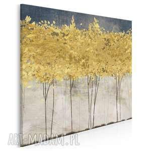 obraz na płótnie - złote drzewa w kwadracie 80x80 cm 77102, drzewa, abstrakcja
