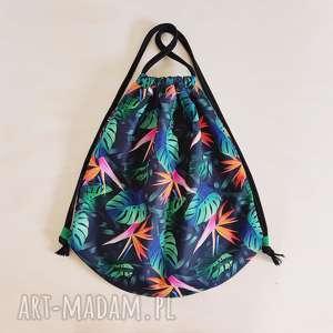 plecak worek xl - ,plecak,worek,monstera,liście,torebka,oversize,