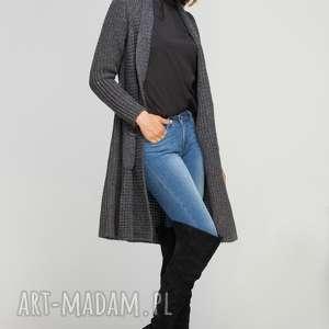długi, ciepły sweter, swe112 grafit, casual, ciepły, płaszczyk, kieszenie, długi