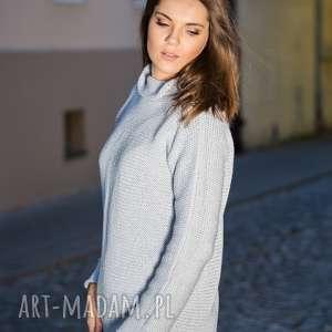 Ciepły, jasnoszary sweter swetry hermina z-golfem, damski sweter