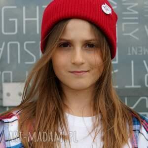 czerwona czapka dla dziecka logo kolor, kids beanie, wywijana