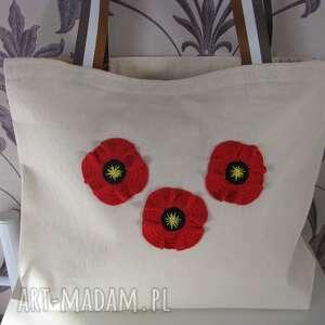 Bawełniana torba na zakupy, ekologiczna, z makami dobrzykowska