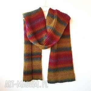 kolorowy szal ręcznie robiony unisex, szalik, na drutach, zimowy szalik, męski