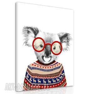 obraz na płótnie - 60x80cm koala wysyłka w 24h 02174, koala, hipster, sweter