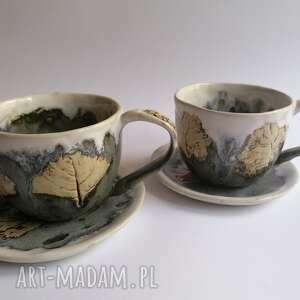 komplet filiżanek drzewa w szarości, ceramika rękodzieło, do kawy